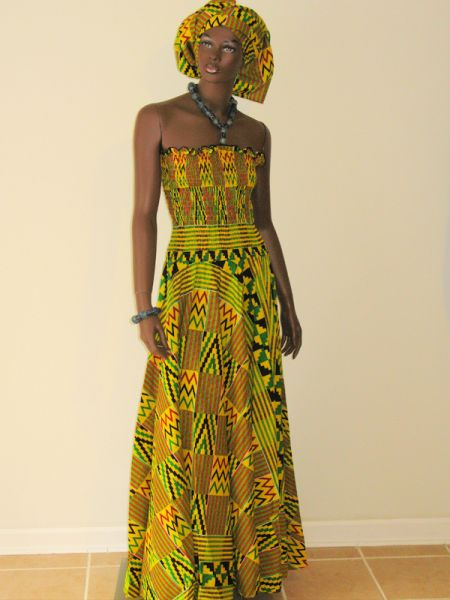Kente yellow background attire  picture