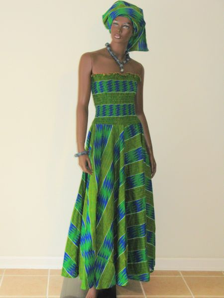 Green Kente wax print Gown   picture