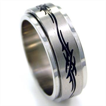 stainless steel ring with black design  picture
